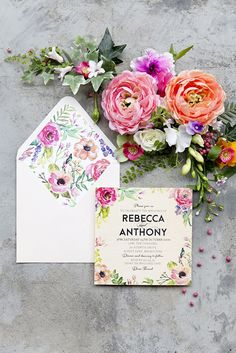 The Print Fairy Floral Wood invitation - In Bloom design with envelope liner