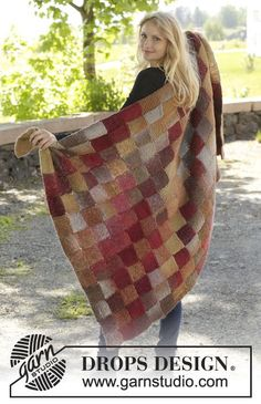 "Domino - Couverture DROPS avec entrelacs, en ""Big Delight"". - Free pattern by DROPS Design"