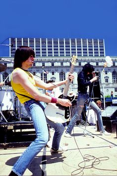 Ramones playing a free Summer in the City concert. Photo by Chester Simpson. San Francisco, 1980.