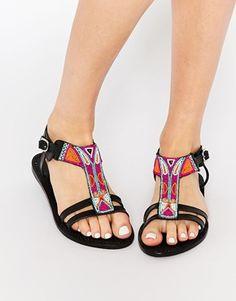Кожаные сандалии с отделкой в ацтекском стиле Park Lane