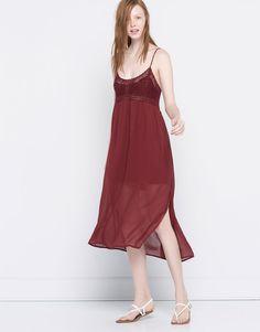 Pull&Bear - mulher - novidades - vestido midi combinado croché - vermelho escuro - 05390370-V2016