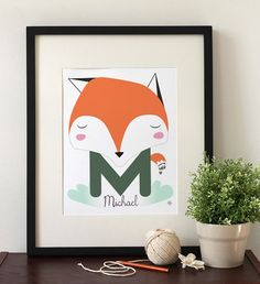 Baby and Children Nursery Art Print - Birth Announcement Print - Cute Fox illustration- 8 x 10