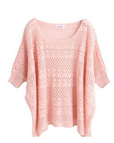 Pink Ultra-Thin Hollow Bat Short-Sleeved Round Neck Sweater Indressme