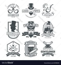 Set of vintage gentleman emblems labels Vector Image by vectorpocket