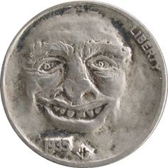 John Hughey Hobo Nickel, Coin Art, Antique Coins, Jewelry Collection, Buffalo, Cactus, Auction, Carving, Portraits