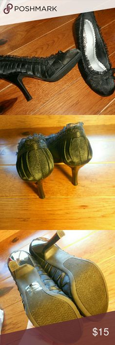 """Beautiful wild dive black lacey heels In excellent used condition, worn once or twice. Very very cute black lacey shoes! Size 7 Brand is """"Wild diva"""" feel free to ask questions! Open to offers! Wild Diva Shoes Heels"""