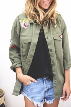 Oversized Military Patch Shirt from ascot   hart