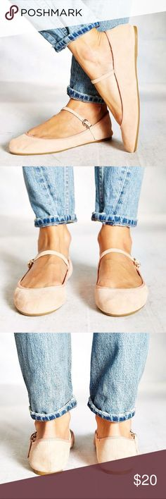 Cooperative ballet flats Soft and delicate pink suede, buckle strap, slightly narrow fit, brand new without tags or box Cooperative Shoes Flats & Loafers
