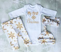 Baby Girl Christmas OutfitMy First by thebabycloset101 on Etsy