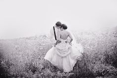 wedding, field, black + white