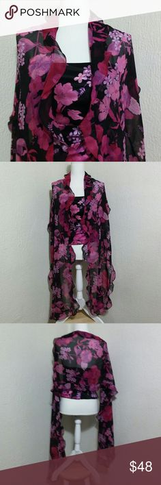 """NWOT Kay Unger Silk Bustier Top and Wrap NWOT Kay Unger Silk Bustier Top and Wrap. Size 6. Perfect condition. Measurements are: Top of Underarm to bottom is 10"""", Bust seam to seam 16"""". Wrap is 90"""" long and 16"""" wide. Kay Unger Tops"""