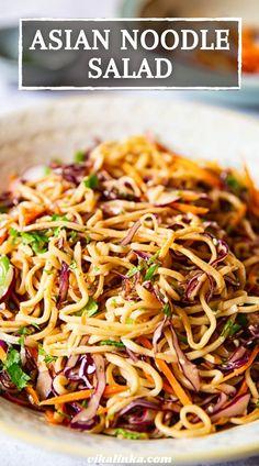 Asian Noodle Recipes, Asian Recipes, Vegetarian Recipes, Cooking Recipes, Healthy Recipes, Asian Noodles, Asian Cold Noodle Salad, Thai Noodle Salad, Cold Noodle Salads