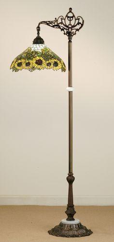 """Meyda 61""""H Wild Sunflower Bridge Arm Floor Lamp"""