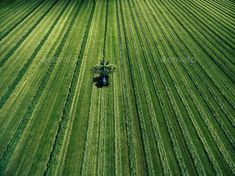 Blue tractor mowing green field, aerial view Green Ground, Snowy Forest, Deep Blue Sea, Green Fields, Wooden Background, Aerial View, View Photos, Tractors, Outdoor Blanket