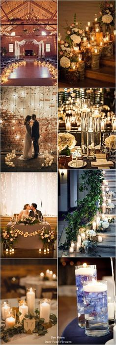 Rustic romantic wedding candle decor ideas / http://www.deerpearlflowers.com/wedding-ideas-using-candles/