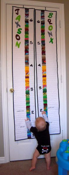 Growth Chart quilt for twins
