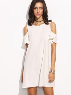 Shop White Cold Shoulder T-shirt Dress online. SheIn offers White Cold Shoulder T-shirt Dress & more to fit your fashionable needs.