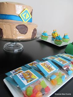 Scooby Doo Party Cake and Gummies on dessert table (AJ)