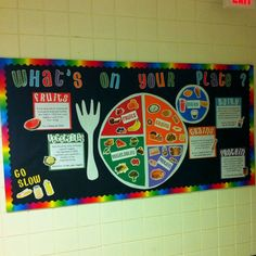 Nutrition bulletin board for cafeteria Cafeteria Bulletin Boards, Nurse Bulletin Board, Food Bulletin Boards, Bullentin Boards, Nutrition Education, Sport Nutrition, Kids Nutrition, Nutrition Guide, Nutrition Classes