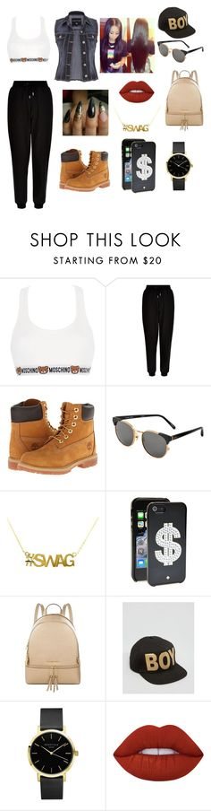 """""""Swag"""" by kelvionne ❤ liked on Polyvore featuring Moschino, New Look, Timberland, Linda Farrow, Kate Spade, MICHAEL Michael Kors, BOY London, ROSEFIELD, Lime Crime and maurices"""