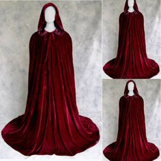 Hooded Velvet Halloween Cloak Cape Robe Vampire Witch Wedding Wicca Medieval NEW , Witch Wedding, Wedding Cape, Bridal Cape, Dream Wedding, Wedding Dress, Renaissance Costume, Medieval Costume, Hooded Cloak, Medieval Dress