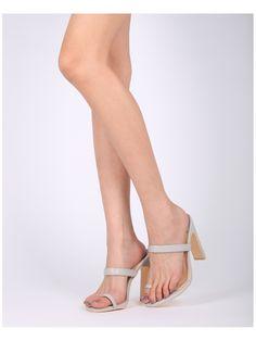 Shoes MACKINJ HG88 Leatherette Toe Ring Wide Heel Sandal