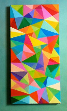 Abstract Painting / Colored Triangles / acrylic painting/ blue red yellow green pink orange Colors/Home Decor/ Mosaic -geometric painting