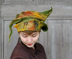 Beautiful fancy felted hat, one of a kind, sculptural hat like leaf in autumn colors, elvish hat. I made it nuno felt technique with silk fabric and