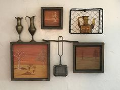 Wall Art Grouping, Engraved Wood, Farmhouse Decor, Modern Rustic Home, Fall Autumn, Cabin, Lodge, Orange Yellow Gold, Brass, Amber, Gift