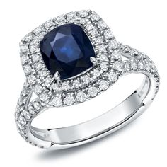 Auriya 18k White Gold 1 1/2ct Blue Sapphire and 1ct TDW Diamond Double-Halo Ring (F-G, SI1-SI2) (White Gold - Size 7.5), Women's