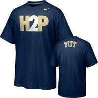 bold block letters -- khaki and white on navy Pittsburgh Panthers Nike H2P Campus Roar Student T-Shirt
