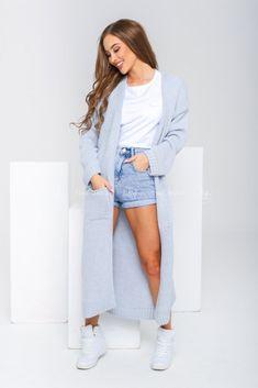 Dlhý pletený dámsky kardigán modrý Duster Coat, Jackets, Fashion, Down Jackets, Moda, Jacket, Fasion, Trendy Fashion, La Mode