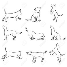 9 Great Minimalist Dog Silhouettes tattoo's. The real dog aficionado could use any number of these arranged together #dog #tattoo | Dog Drawing Set Royalty Free Cliparts, Vectors, And Stock Illustration. Image 8230000.