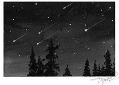"""The Outside Story: """"April Showers,"""" by Carolyn Lorié. Illustration by Adelaide Tyrol. """"In the pre-dawn hours of April 22, the Lyrid meteor shower will peak. About 15 to 20 meteors will be visible each hour, which really is not very many…"""""""