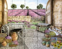 """Kittle's French Lavender Field View"" hand painted tiles mural by Julia Sweda..."
