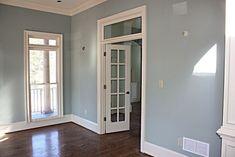 Love the colors #FlooringStore Pale Blue Bedrooms, Blue Bedroom Walls, Bedroom Wall Colors, Paint Colors For Living Room, Blue Grey Walls, Grey Wall Color, Dark Floor Living Room, Home Living Room, Small Bathroom Redo