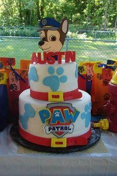 PAW Patrol Cake for a birthday party Paw Patrol Chase Cake, Bolo Do Paw Patrol, Torta Paw Patrol, Paw Patrol Birthday Cake, Paw Patrol Party, 5th Birthday Party Ideas, Baby Birthday, Birthday Decorations, Party Cakes