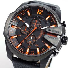 Diesel DZ4291 - Get An Amazing Experience Only @ http://www.designerposhwatches.co.uk/product/diesel-dz4291-mega-chief-black-leather-orange-accent-mens-watch