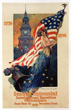 Sesquicentennial Exposition Poster by Dan Smith. Lady Liberty appears here beautifully illustrated in this lithograph. Vintage Cards, Vintage Postcards, Vintage Images, Holiday Postcards, American Pride, American History, American Flag, American Quotes, Patriotic Pictures