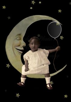 Babys Balloon on the Moon Altered Vintage Image by MsAlisEmporium