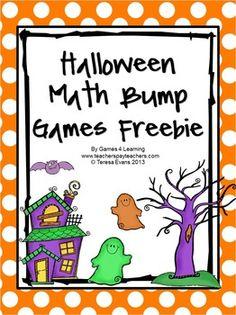 games, halloween teach, game freebi, fun game, math freebi, grade, bump game, halloween math