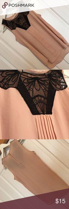 Blush & black lace sleeveless blouse Daniel Rain EUC Nordstrom Blouse - Blush & Black w/ Lace Sleeveless • Daniel Rain • Medium • great with black skinnies and high heels • ships fast • make a bundle offer ! Daniel Rainn Tops Blouses