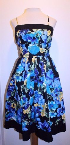 JFW Dress 9 Blue Yellow Black Multicolor Floral Pocket Front A Line Dress #JFW #ALine #CasualEvent