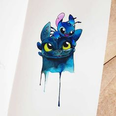 Toothless and Stitch Watercolour By @creative.girl_art