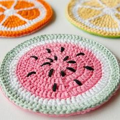 How to Crochet Tutti Frutti Potholders (full instructions, in English, with photos)