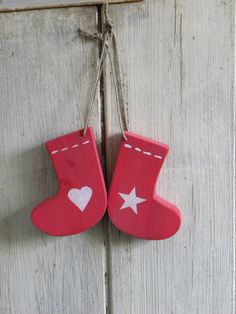 Chunky wooden Christmas stocking tree ornament by TheNestUK, $4.50