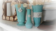 How to paint plain Goodwill vases into shabby aqua ones (from For the love of white)