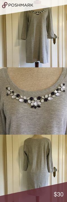 Ann Taylor Bejeweled Sweatshirt Dress - S Darling dress in excellent (like new) used condition. 95/5 Cotton/Poly Blend. No spots or flaws. Ann Taylor Dresses