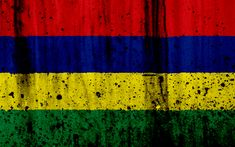 Download wallpapers Mauritius flag, 4k, grunge, flag of Mauritius, Africa, Mauritius, national symbols, Mauritius national flag