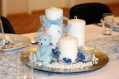 Bilderesultat for bordpynt dåp gutt Baby Boy Shower, Kids And Parenting, Pillar Candles, Christening, Candle Holders, Birthday Parties, Party, Inspiration, Tables